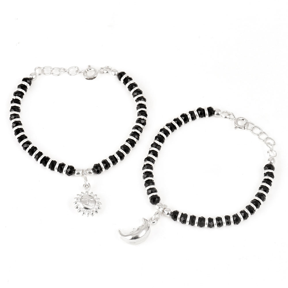 92.5 Sterling Silver Bracelet Black Bead Sun And Moon Charms Nazariya Anklet for Kids