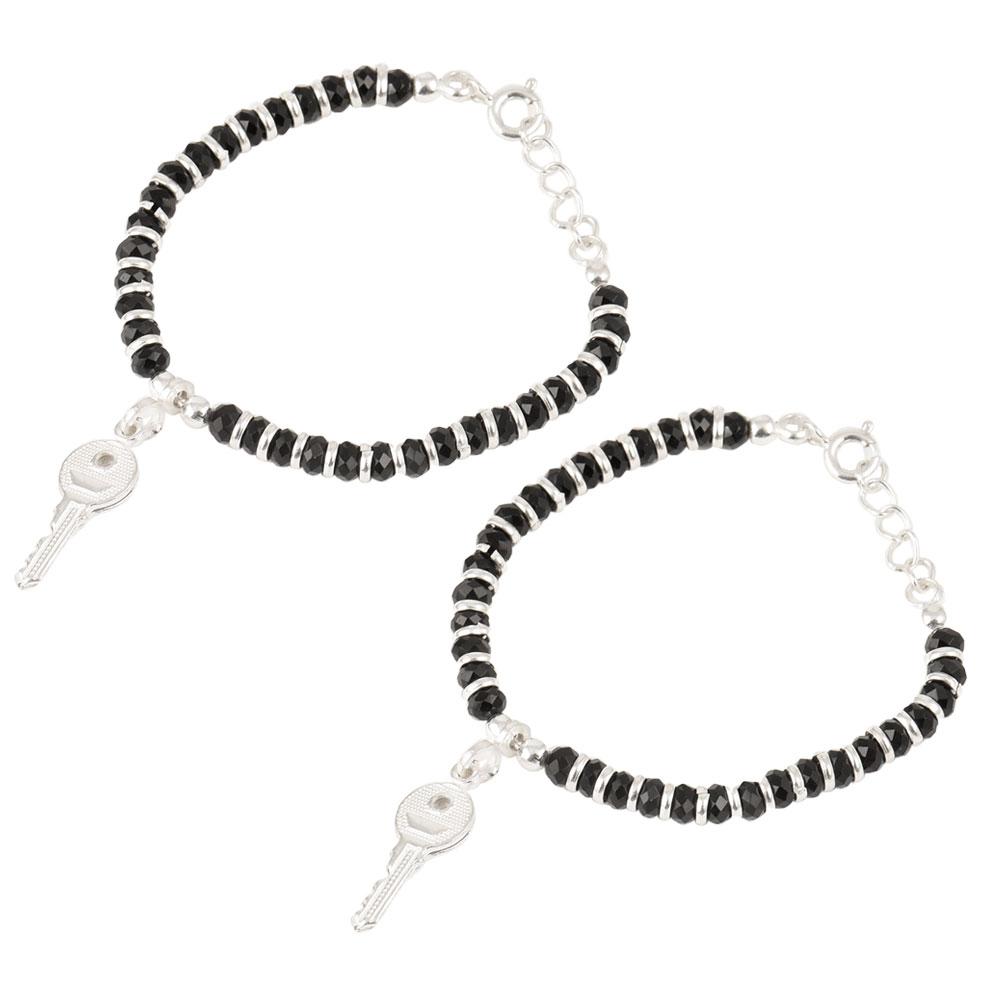 92.5 Sterling Silver Bracelet Black Bead Key Charms Nazariya Anklet for Kids