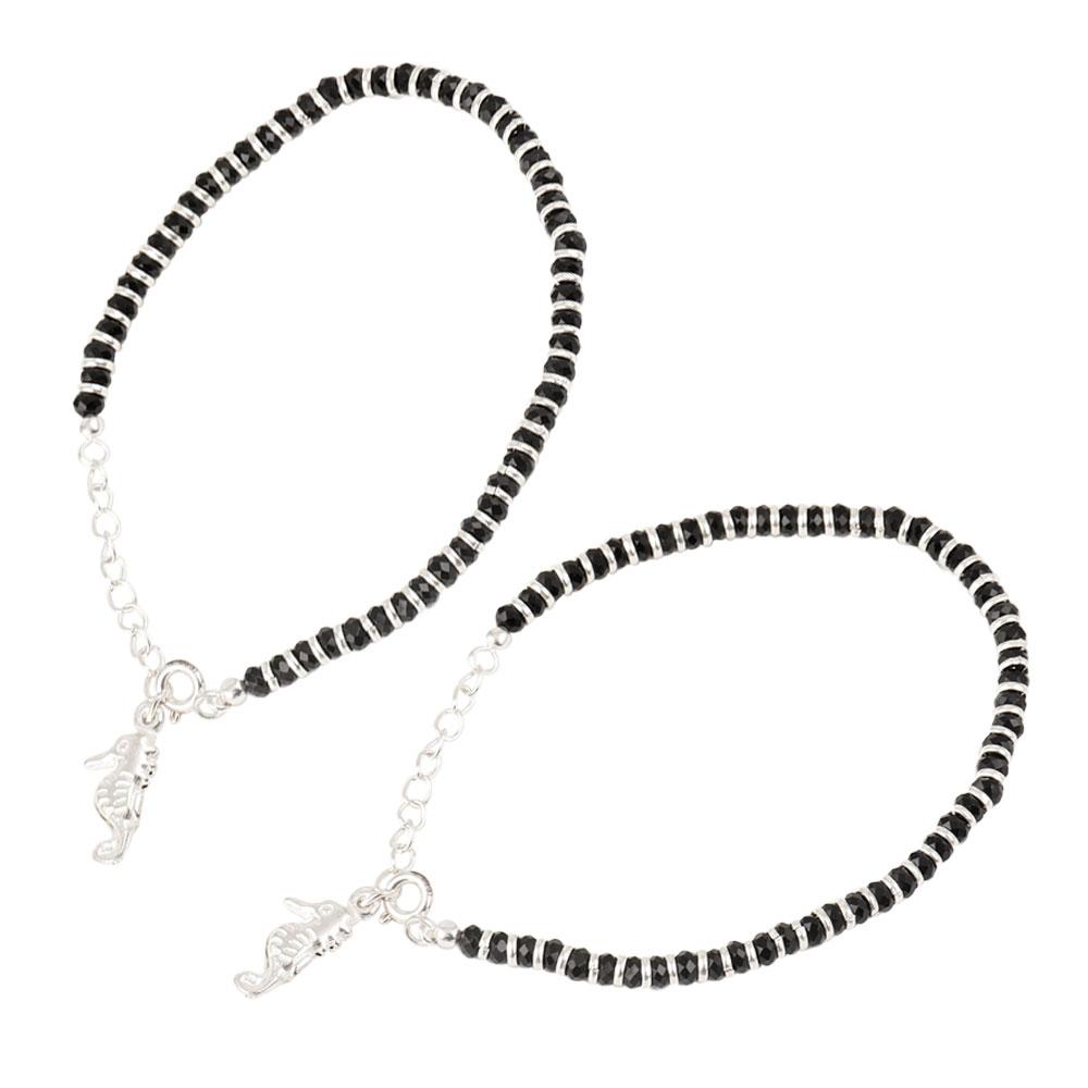 92.5 Sterling Silver Bracelet Black Bead Sea HorseCharms  Nazariya Bracelet for Kids