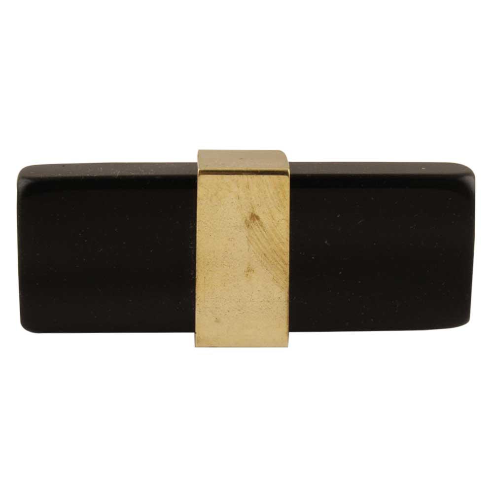 Black Resin And Brass Flat Cabinet Knob