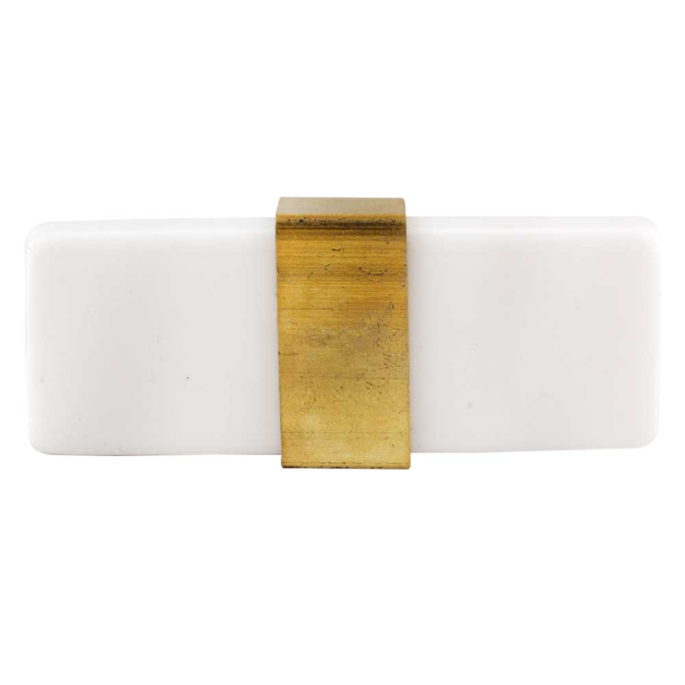 Milky White Resin And Brass Flat Cabinet Knob