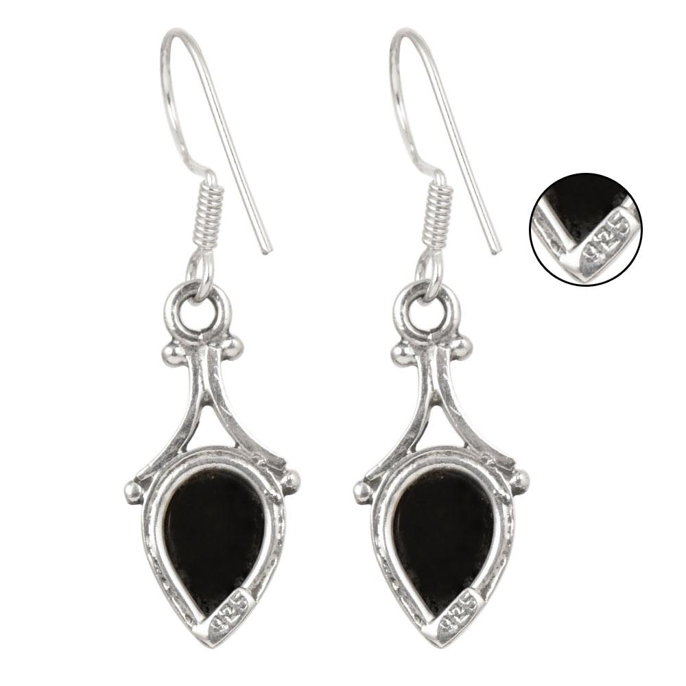 92.5 Sterling Silver Earrings Onyx Teardrop Drop Ethnic Earrings
