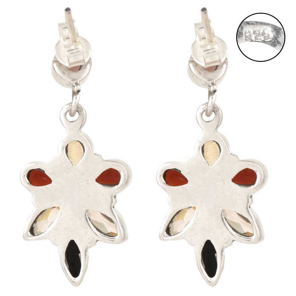 3 ct Multi Natural Semi-Precious Gem Medallion Drop Earrings in Sterling Silver