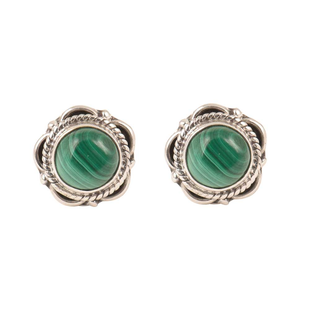Sterling Silver Earrings Green Malachite Engraved Studs