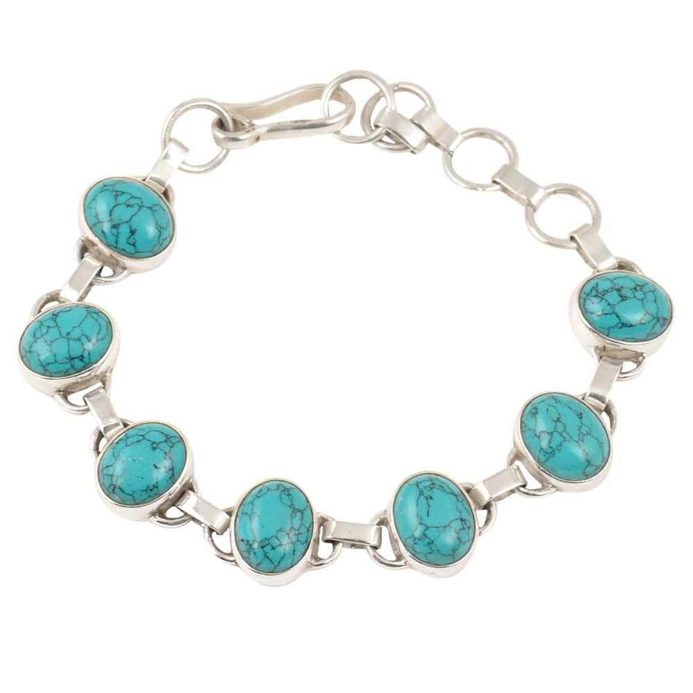 92.5 Sterling Silver Bracelet Turquoise Hand Crafted Bracelet