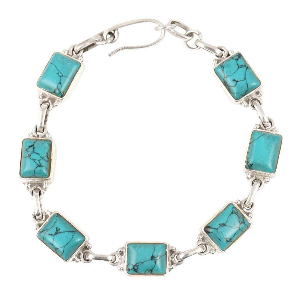 92.5 Sterling Silver BraceletSquare Turquoise Hand Crafted Bracelet