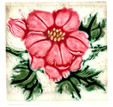Old Ceramic Tile With  Red Floral Design