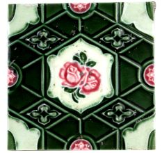 Old Ceramic Tile Geometric Green  Design Pink Rose Hand painted  Tile