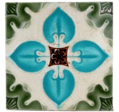 Old Ceramic Tile Sky Blue Floral Petals Design