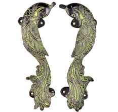 Brass Door Handle Peacock Figurine Design Door Pull with Patina