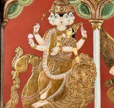 68 Inch Tanjore Painting Trimurti Brahma Vishnu Mahesh With Vahanas Consort Tridevi Sarasawat Durga And Laxmi