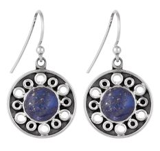 92.5 Sterling Silver Earrings Round Lapis Lazuli Floral Carvings Danglers