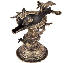 Handcrafted Ritual Brass Oil Lamp Diya Stand With Several  Peacock Figurines