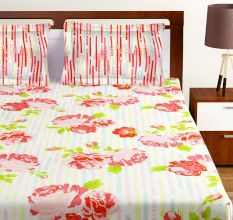 Bombay Dyeing Orange Floral 120 TC Cotton Double 1 Bedsheet With 2 Pillow Covers