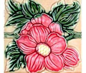 Old Ceramic Tile With Flower Motif