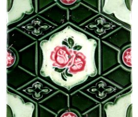 Old Ceramic Tile Geometric Green  Design Pink Rose Hand painted  Tile