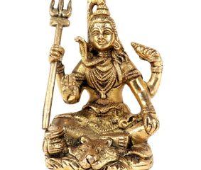 Brass Shiva Statue Ashirwad Mudra Meditation Idol