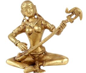Brass Lady Sitting With Playing Veena Statue Adorned with Peacock