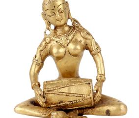 Brass Lady Sitting With Playing Drum Statue