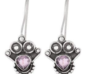 92.5 Sterling Silver Earrings Amethyst Angle Wings Hook Earrings