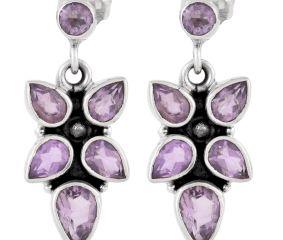 92.5 Sterling Silver Earrings Amethyst Stones Chandelier Earrings