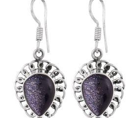 92.5 Sterling Silver Earrings Black Sun Stone Drop Hook Earring