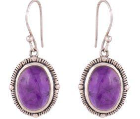 92.5 Sterling Silver Earrings Amethyst Oval  Earrings