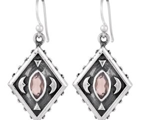92.5 Sterling Silver Earrings Rose Quartz Kite Earrings