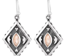 92.5 Sterling Silver Earrings Citrine Engraved  Kite Earrings