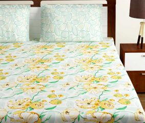 Bombay Dyeing Yellow Blue Floral 180 TC Cotton Double 1 Bedsheet With 2 Pillow Covers