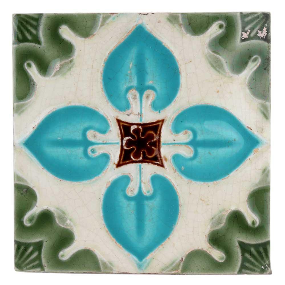 Old Ceramic Tile Sky Blue Floral Petals Design