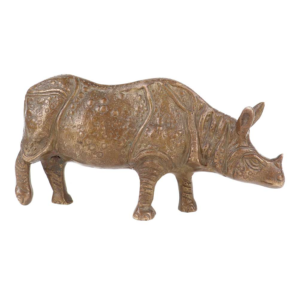 Hand Made Brass Rhino Statue Figurine