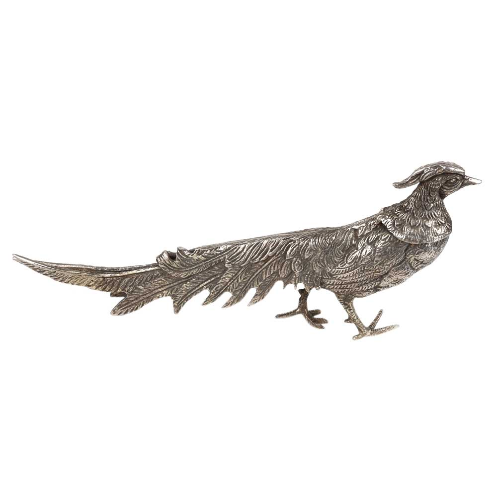 Silver Plated Peacock Figurine With Long Feathers