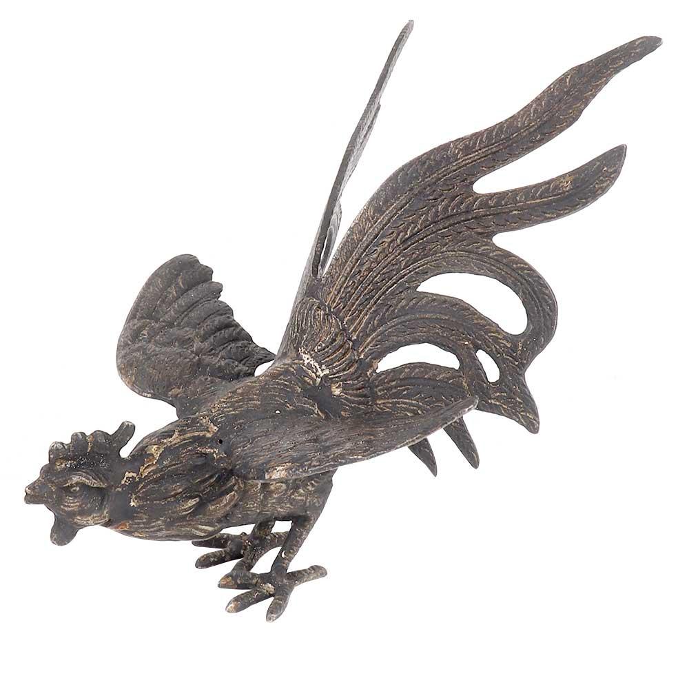 Brass Figurine Handmade Large Fighting Cock