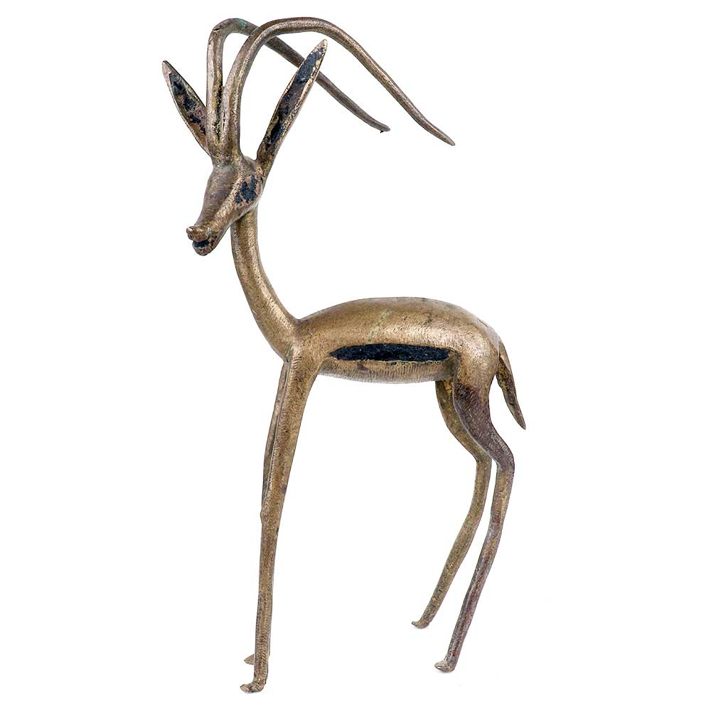 Brass Standing Deer Statue With Two Long Delicate Antlers