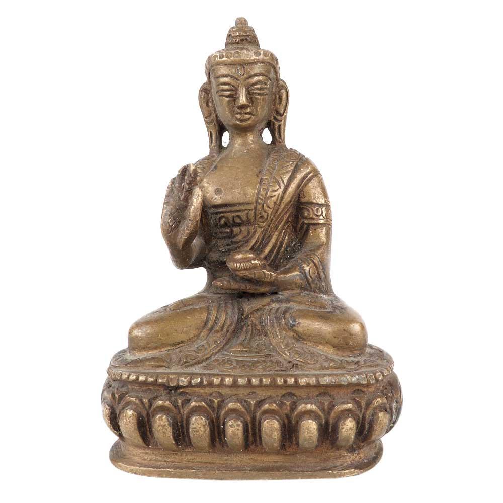 Brass Buddha Statue With Alms Bowl Meditation Pose