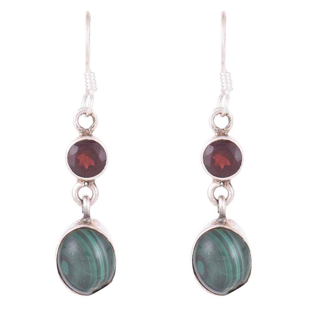92.5 Sterling Silver Earrings Garnet Melachite Dangle Earrings