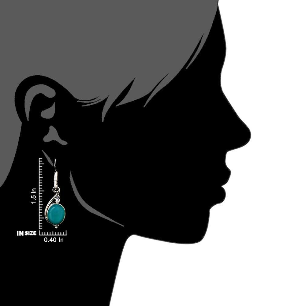 92.5 Sterling Silver Earring Single Oval Shaped Green Agate Hook Earrings