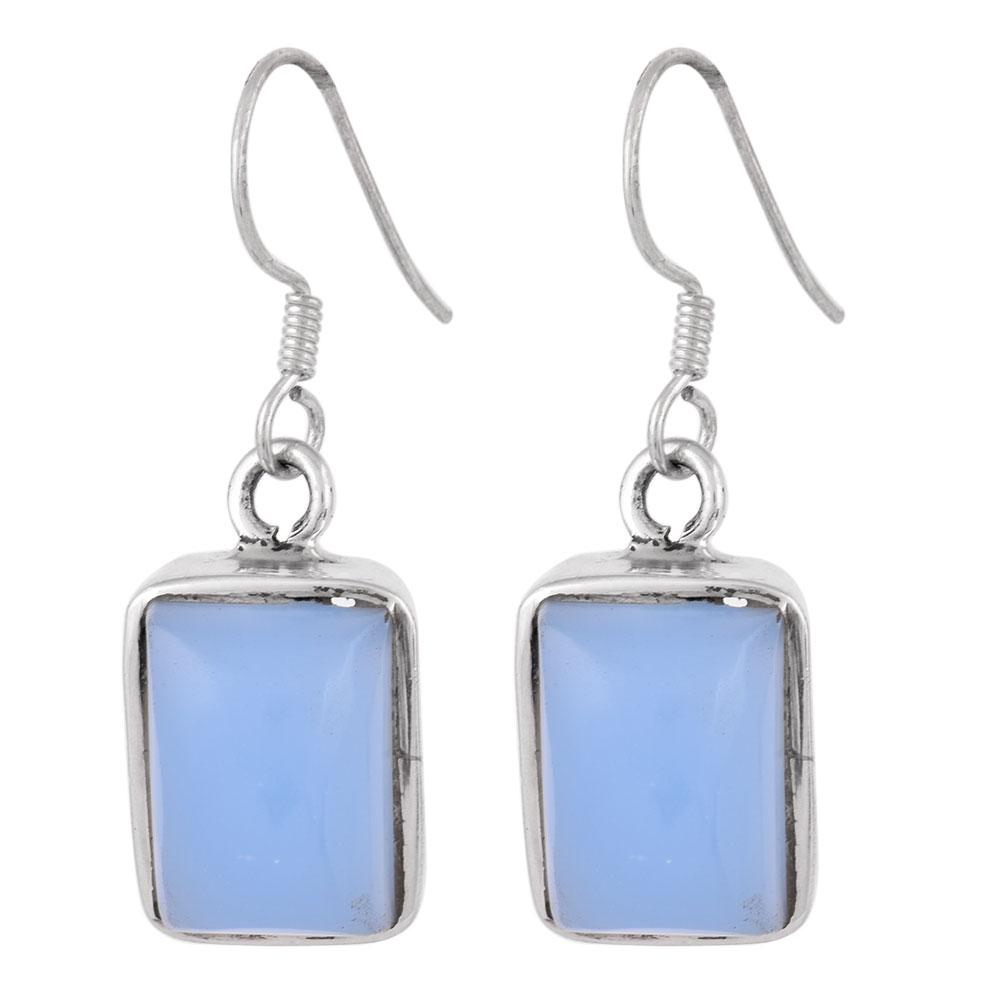 92.5 Sterling Silver Earrings Square Framed Quartz Sky Blue Earrings