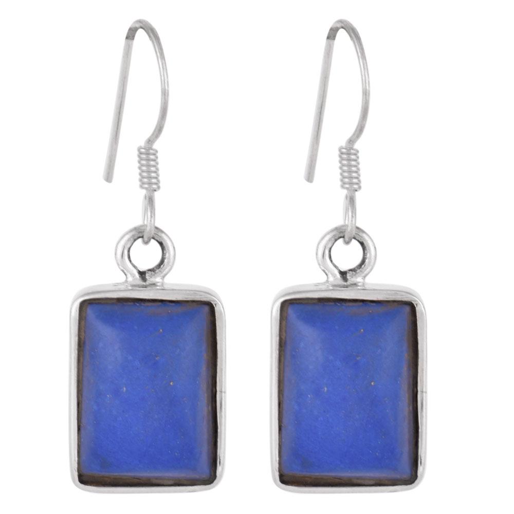 92.5 Sterling Silver Earrings Square Lapis Lazuli Hook Earrings