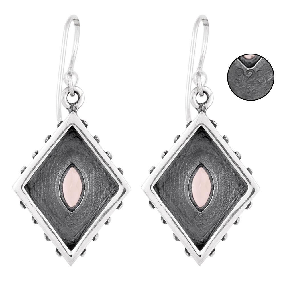 92.5 Sterling Silver Earrings Rose Quartz Kite Earrings