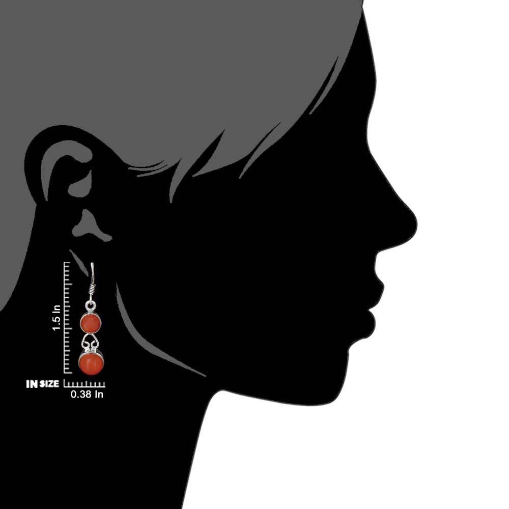 92.5 Sterling Silver Earrings Red Onyx Dangle Earrings