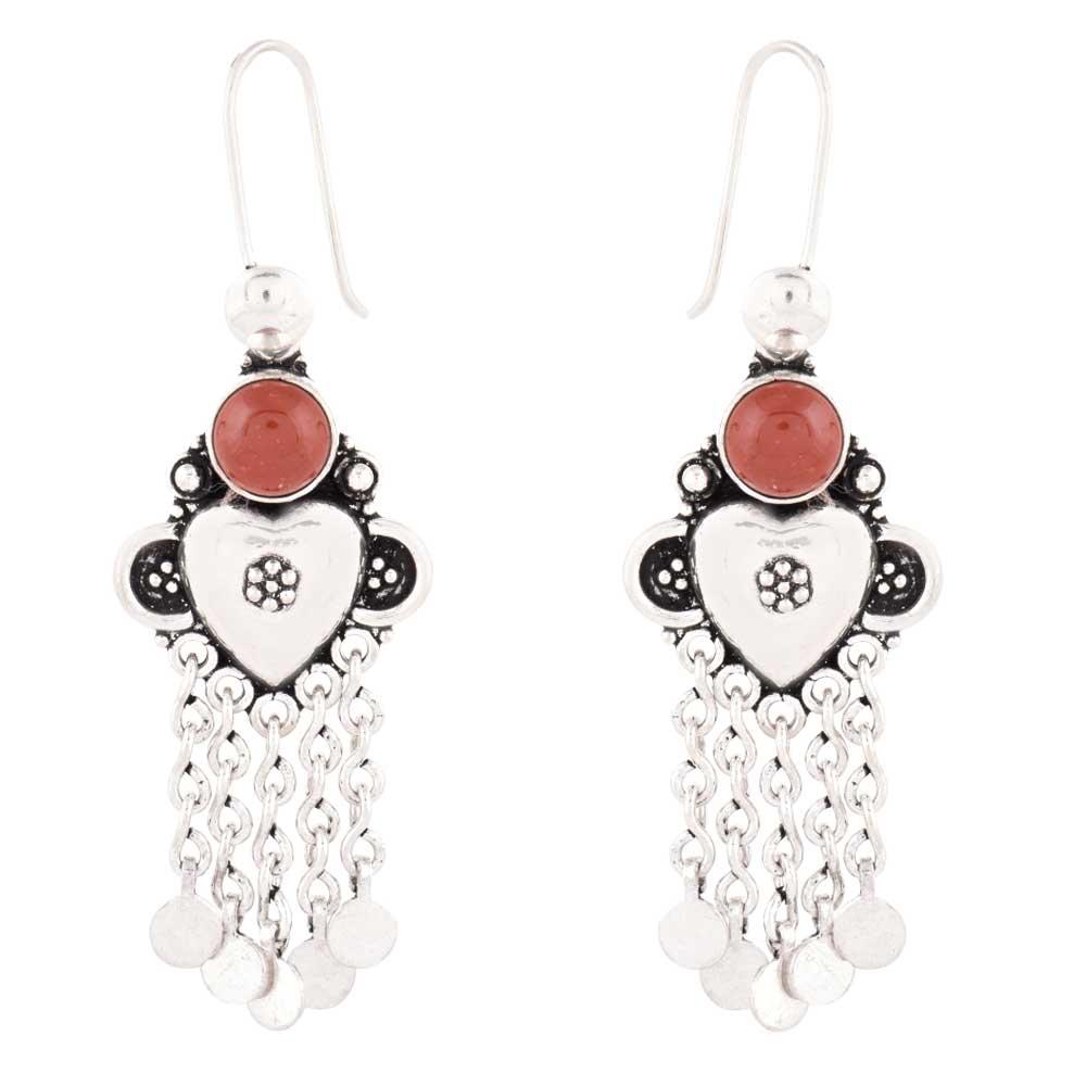92.5 Sterling Silver Earrings Round Carnelien And Silver Tassel Chandelier earrings