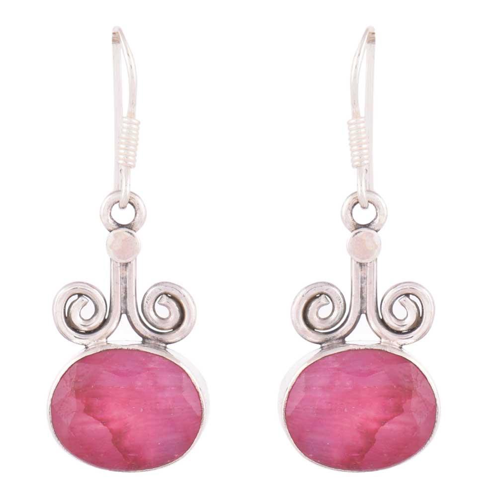 92.5 Sterling Silver Earrings Spinel Engraved Horned Hook Earrings