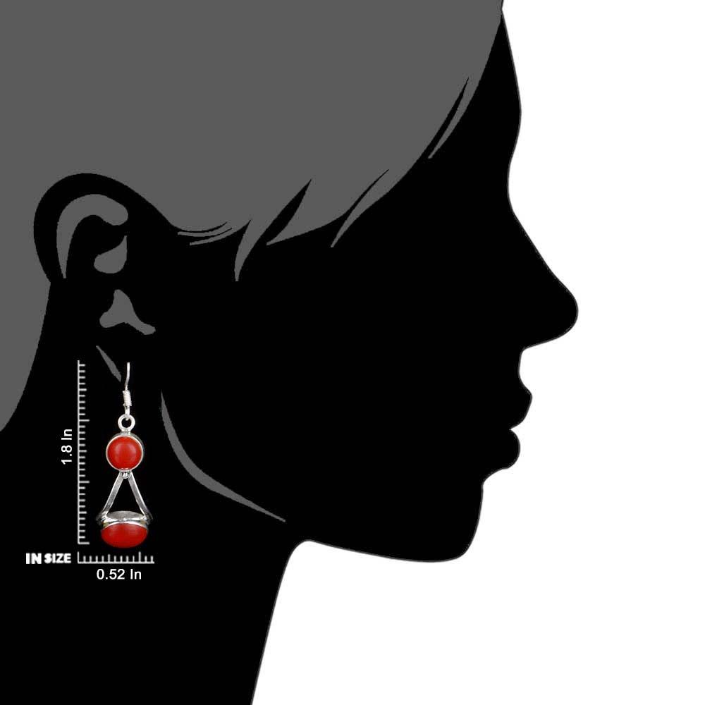 92.5 Sterling Silver Earrings  Round Red Agate Dangle Earrings