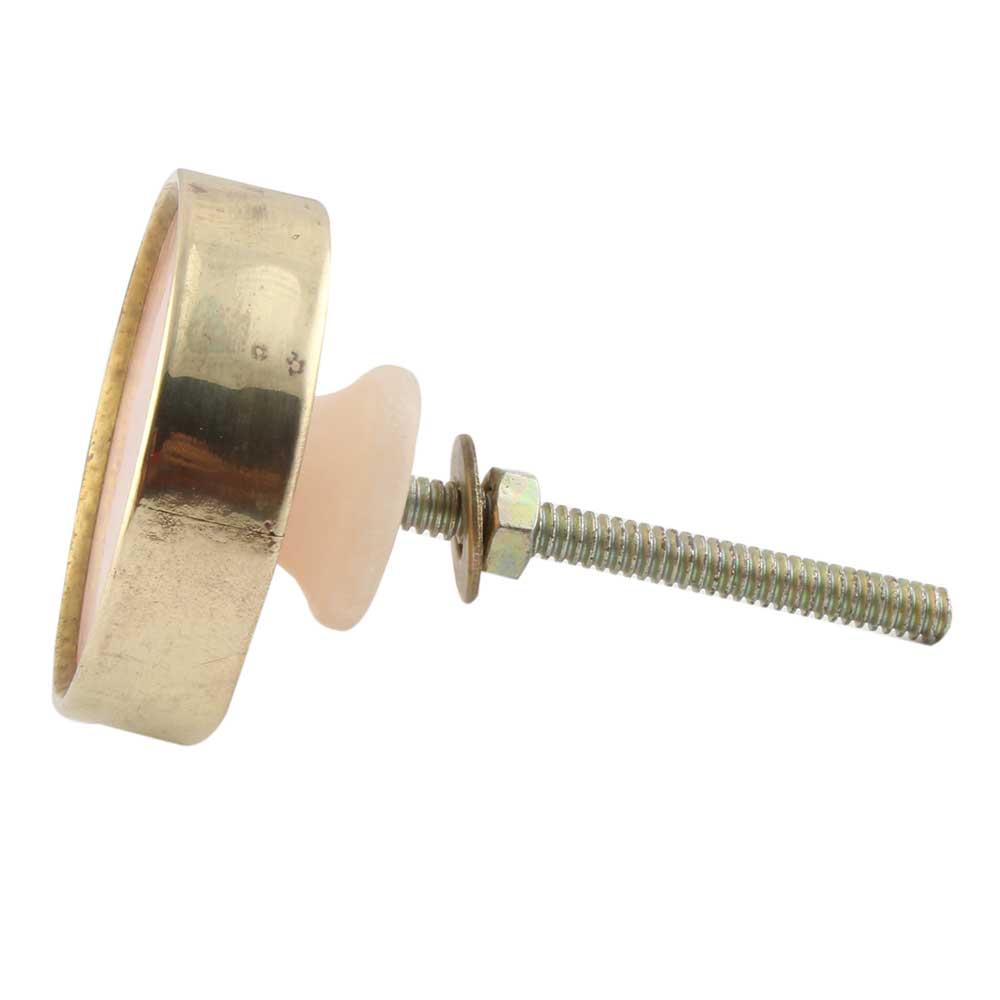 Pink Round Metal and Resin Drawer Knob