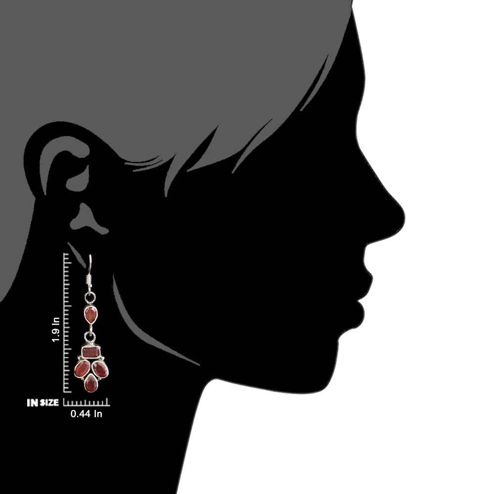 92.5 Sterling Silver Earrings  Red Garnet Natural Stones Earrings