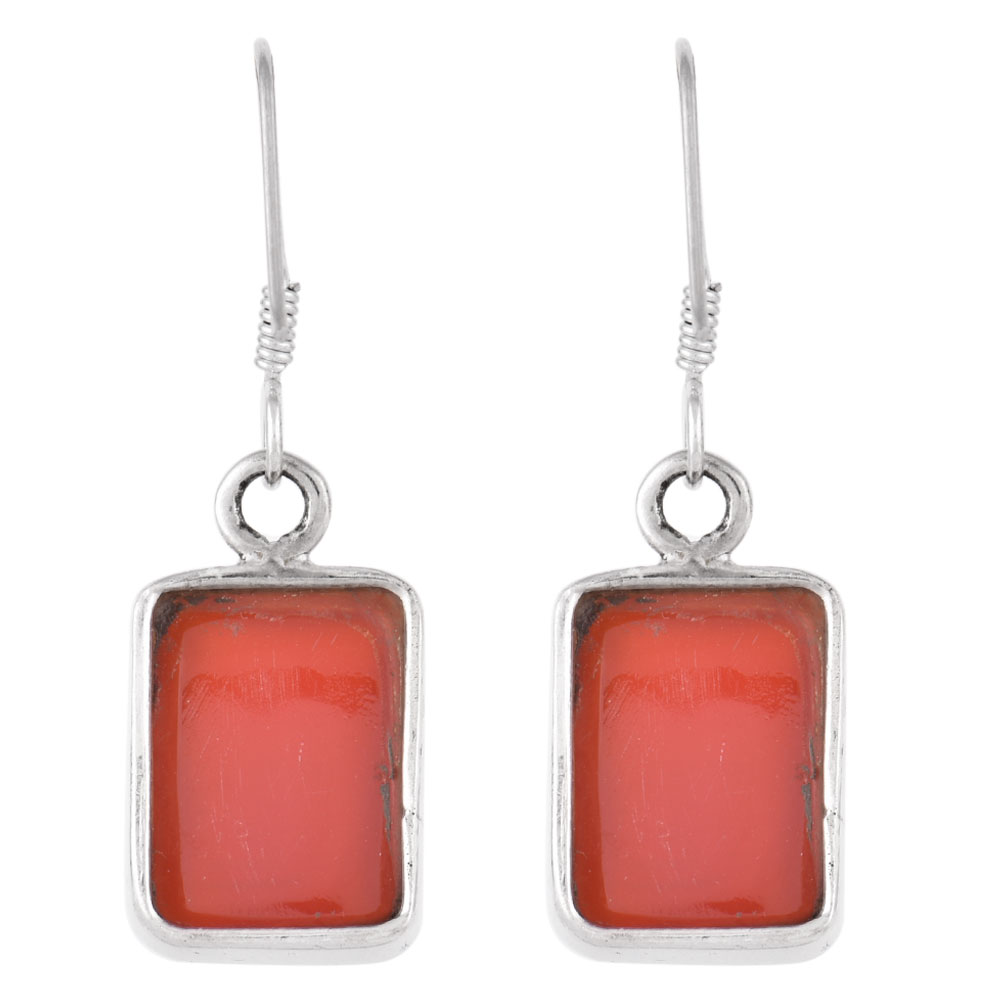92.5  Sterling Silver Earrings Square Red Carnelian  Natural Stone Earrings