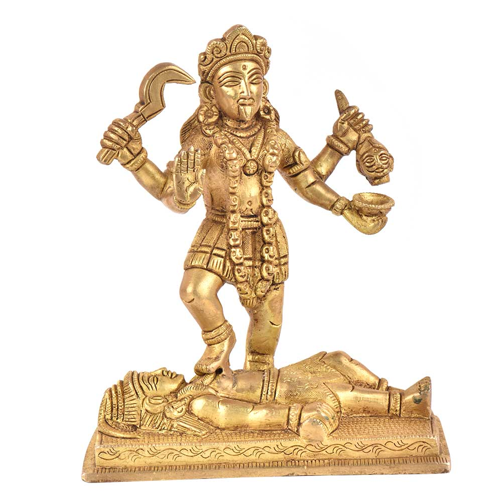 Brass Kali Statue Idol Hindu Worship Goddess Statue