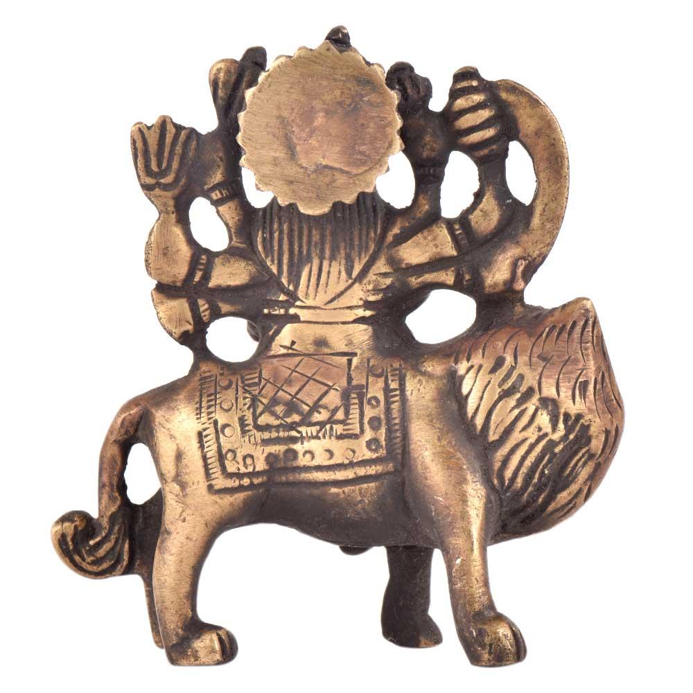 Brass Durga Statue Lord Bhagwati Seated On Lion Idol